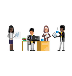 Asian and arabic business staff working in office vector