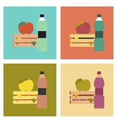 Assembly flat icons sandwich apple water vector