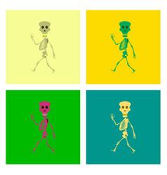 assembly flat skeleton halloween monster vector image