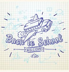 Back to school banner doodle background school vector