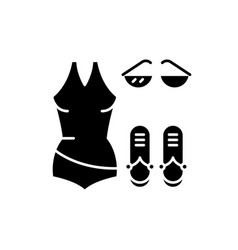 bathing suit black icon sign on isolated vector image