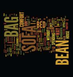 Bean bag sofas text background word cloud concept vector