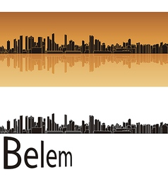 Belem skyline in orange background vector