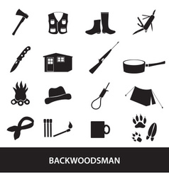 Black backwoodsman icon set eps10 vector