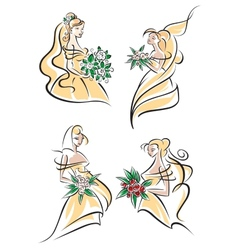 Blonde brides in doodle sketch style vector image