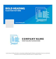 Blue business logo template for chart data graph vector