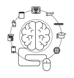 brain and mouse vector image