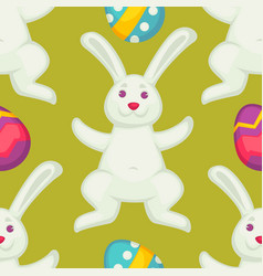 bunny and eggs easter seamless pattern white vector image