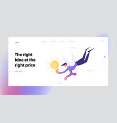 Businessman have creative idea muse landing page vector