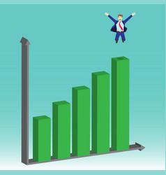 Businessman jumping on top bar graphs vector