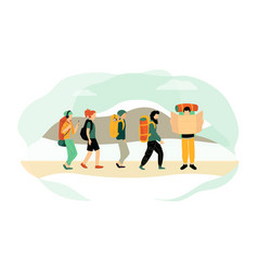 cartoon characters hiking people backpacking vector image