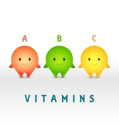 Cartoon characters Vitamin pills for healthy vector