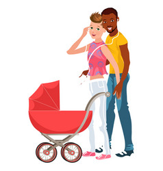 cartoon smiling couple walking with baby in vector image
