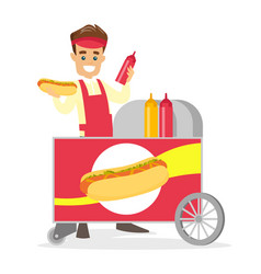 caucasian white street seller making a hot dog vector image