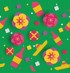 Cinco de mayo paper art flower seamless pattern vector