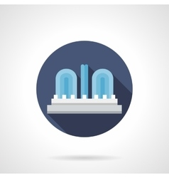City fountain round flat color icon vector image