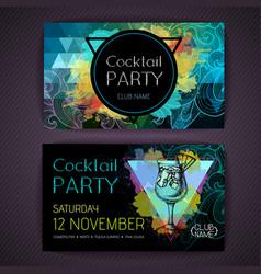 Cocktail blue hawaii on artistic polygon backgroun vector