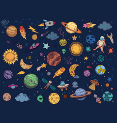 Color space doodle astrology planets colorful vector