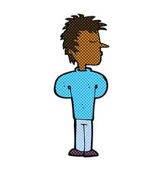 Comic cartoon man ignoring vector
