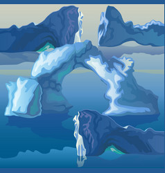 composition sea icebergs and ice vector image