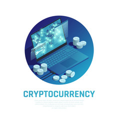 cryptocurrency isometric composition vector image
