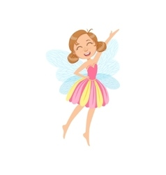 Cute Fairy In Pink Dress Girly Cartoon Character vector
