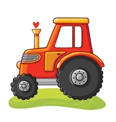 Cute tractor in a clearing vector