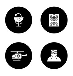dentistry glyph icons set vector image
