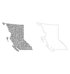 Dotted contour map of british columbia province vector