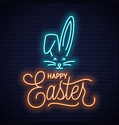 Easter bunny neon sign easter rabbit neon ears vector