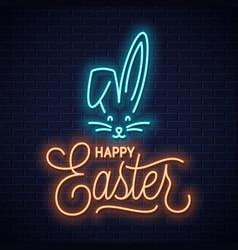 Easter bunny neon sign rabbit neon ears vector
