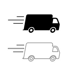 fast delivery shipping truck black and outline vector image