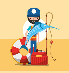 Fisherman fishing cartoon vector