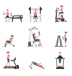 Fitness cardio exercise and equipment vector