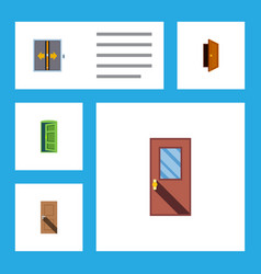 flat icon door set of frame entry door and other vector image