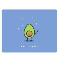 Flat icon of avocado cute cartoon character vector