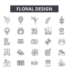 floral design line icons for web and mobile design vector image