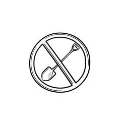 forbidden to shovel sign hand drawn outline doodle vector image