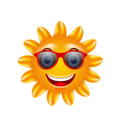 Funny face of summer sun with sunglasses vector