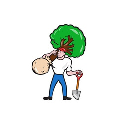 Gardener arborist carrying tree cartoon vector