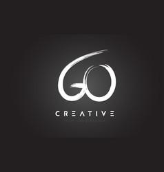 go brush letter logo design artistic handwritten vector image