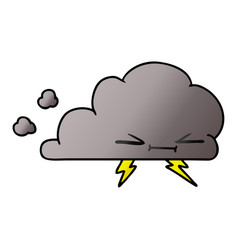 Gradient cartoon a grumpy lightening cloud vector