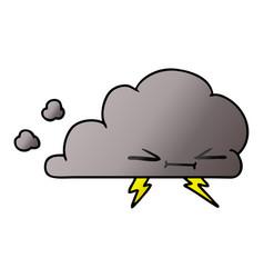 Gradient cartoon of a grumpy lightening cloud vector