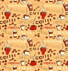 Grungy hand drawn ink coffee to go cups mugs beans vector image