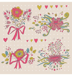 hand drawn flower bouquet set retro flowers in vector image