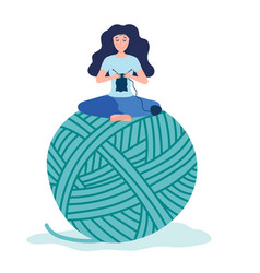 Happy tiny creative woman knitting and sitting on vector