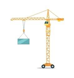 Industrial yellow crane lifting heavy glass vector