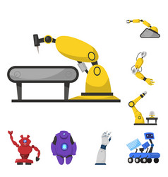 Isolated object robot and factory sign set of vector