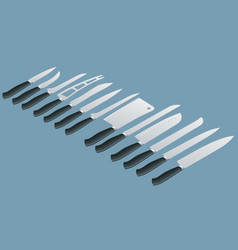 isometric knives butcher meat knife set cleaver vector image