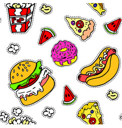 junk food burgers and hot dogs seamless pattern vector image